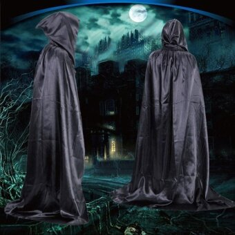 Unisex Halloween Hooded Cloak Coat Magic Wicca Medieval Cape Cosplay Coat Party - intl