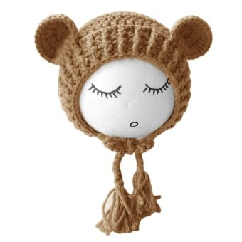 Unisex Newborn Baby Girls Boys Lovely Photography Hat Props Costume\nClothing Headdress with Cute Bear Doll for 0-1 Year Old Camel Color\n- intl