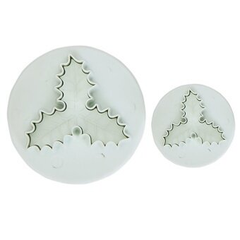 Veined Three-leaf Holly Fondant Cake Cutter Plunger Set of 2 (White) - intl
