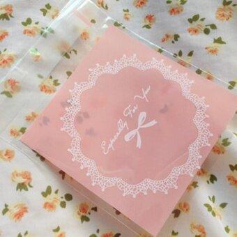 VORSTEK 100pcs Wedding Biscuit Baking Bag Candy Bag - Pink - intl
