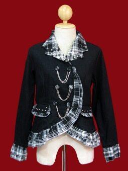WeCosplay ชุดแฟนซี ชุดคอสเพลย์ เสื้อสูทพังค์ Punk Suit พื้นดำปกระบายลายสก๊อตสีขาวดำ ประดับด้วยโซ่