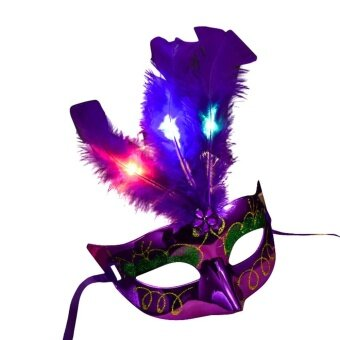 Women Venetian LED Mask Masquerade Fancy Dress Party PrincessFeather Masks - intl