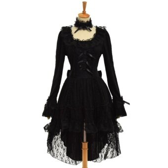 Harga Women's Gothic Lolita Princess Black Lace Dress with Choker (Small)- intl