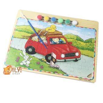 ของเล่นไม้ จิ๊กซอว์ระบายสี 2 in 1 ลายรถแดง