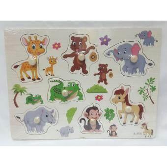 Worktoys ของเล่นไม้ กระดานหมุดไม้ รูปสัตว์ป่า