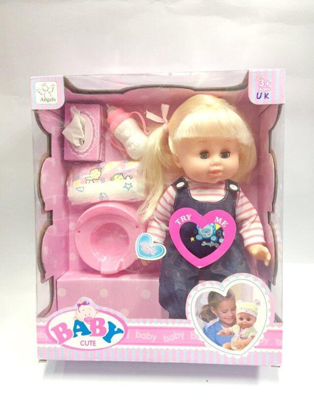 Worktoys ตุ๊กตา เด็กดื่มนมได้ ฉี่ได้ พูดได้ หลับตาได้ พร้อมอุปกรณ์ครบ (เสื้อลายชมพู) image