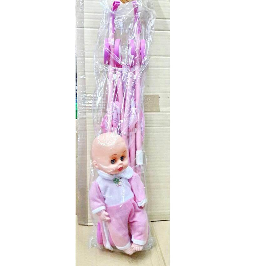 Worktoys รถเข็นตุ๊กตา ตุ๊กตาเด็ก (ชุดสีชมพู)