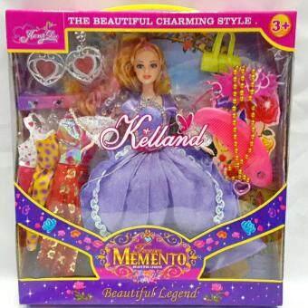 Worktoys ตุ๊กตาเจ้าหญิง ตุ๊กตาแต่งตัว พร้อมเสื้อผ้า และเครื่องประดับ (สีม่วง)
