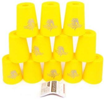 แก้วสแต็ค YJ Set 12Pcs Speed Stacks Cups Indoor Sports Stacking Rapid Fast For Family Game (Yellow)