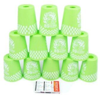 แก้วสแต็ค YJ Set 12Pcs Speed Stacks Cups Indoor Sports StackingRapid Fast For Family Game (Green)