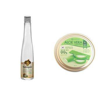 น้ำมันมะพร้าวสกัดเย็น 100% เกรดพรีเมี่ยม กลิ่นหอม แบรนด์สุขนิยม (มาตรฐานส่งออก) ขนาด 100 ml. 1 ชิ้น และ เจลว่านหางจระเข้ ขนาด 250 ml. 1 ชิ้น