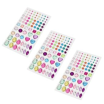 3 Sheets Love Heart Dots Squares Bling Rhinestone StickerSelf-adhesive for Scrap Books Greeting Cards Mobile Phone CraftingProjects Nail Art - intl