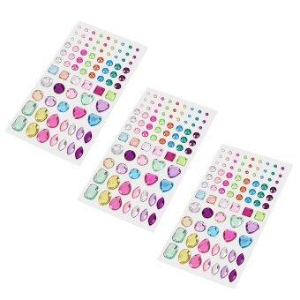 อยากขาย 3 Sheets Love Heart Dots Squares Bling Rhinestone StickerSelf-adhesive for Scrap Books Greeting Cards Mobile Phone CraftingProjects Nail Art - intl