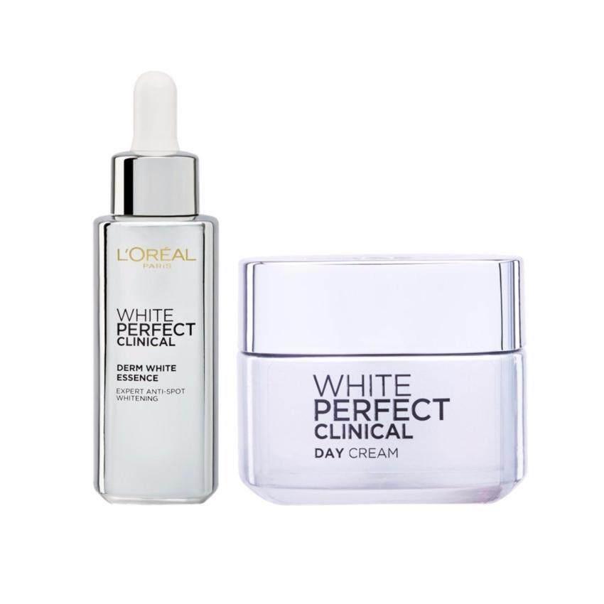 ลอรีอัล ปารีส ไวท์เพอร์เฟ็กต์ คลินิกคอล เดิร์มไวท์ เอสเซนส์ 30 มล. และ เดย์ครีม 50 มล. L'Oreal Paris White Perfect Clinical Day Cream 50ml+DEX WP LASER DERM WHITE ESSENCE 30ML