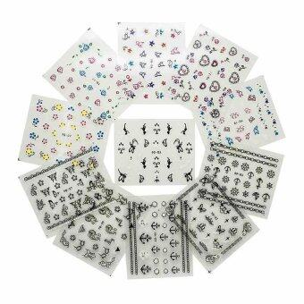 50 Sheets Watermark Stickers Temporary Tattoos DIY Nail Art TipsManicure Decals - intl