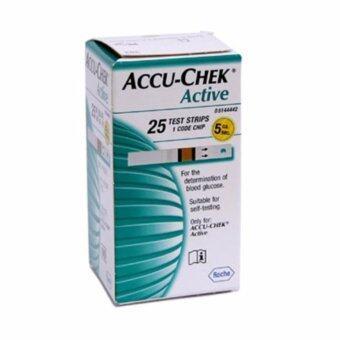 AccuChek Active Test Strips แถบตรวจระดับน้ำตาล แอคทีฟ (25ชิ้น/กล่อง) 1 กล่อง