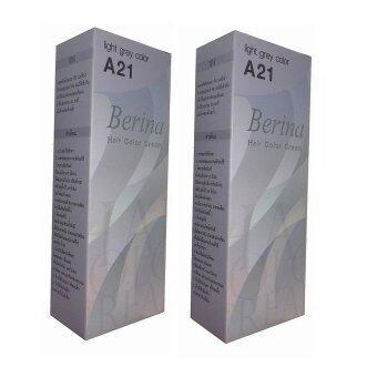 Berina เบอริน่า ยาย้อมผม ครีมเปลี่ยนสีผม สีเทาอ่อน A21 จำนวน 2กล่อง