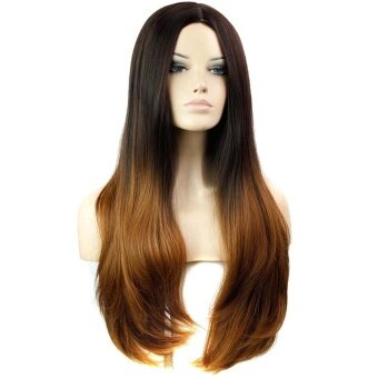 Center-Parted Slightly Curled Long Full Hair Wigs Heat Resistant Gradient Color Black + Brown - intl