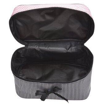 Coconie กระเป๋าเครื่องสำอางลายสี่เหลี่ยมโค้งสีดำจัดส่งฟรี - 4
