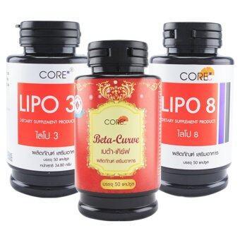 Core ไลโป3 + ไลโป8+ เบต้าเคิร์ฟ กระปุกละ 50 แคปซูล