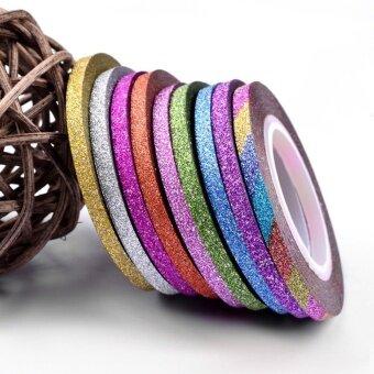 โปรโมชั่นพิเศษ Cyber 10 Rolls Shiny Glitter Striping Tape Line Decoration Sticker Tips Nail Art ( Multicolor ) - intl