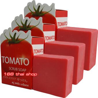 Easy Aura Tomato Scrub Soap สบู่มะเขือเทศ ก้อนละ 50 กรัม x 3 ก้อน