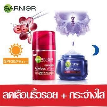 BESTSELLING : GARNIER ชุดเซ็ตเอจเลสไวท์ครีม 24ชม.แห่งความอ่อนเยาว์ (สูตรกลางคืน 50มล.+ซิตี้ รีนิว เอสพีเอฟ 30/พีเอ +++ 50มล.) Set Garnier Ageless White Cream (Night Cream 50 ml+CITY RENEW SPF 30/PA+++ 50ML.)