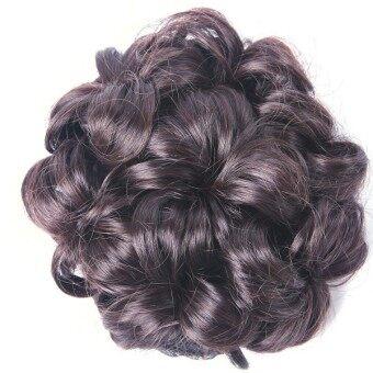 Gracefulvara Wavy Curly Wig Hair Extension Hairpiece Scrunchie (Dark Brown)