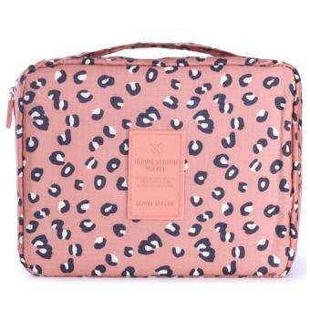 Healthy club cosmetic bag กระเป๋าใส่เครื่องสำอาง กระเป๋าจัดระเบียบ(สีชมพู ลายเสือดาว)