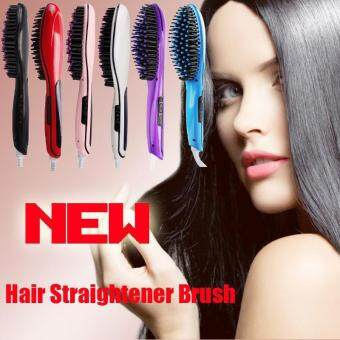ซื้อ/ขาย Hight Quality Store New Automatic Electric Hair Straightener Purple Comb LCD Iron Brush Hair Massager Purple-White_EU Plug