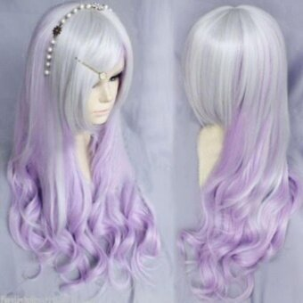 Harga Chic Purple Ombre Silver Gray Hair Lolita Lady Long Wavy Curly Full Wig Cosplay Party - intl