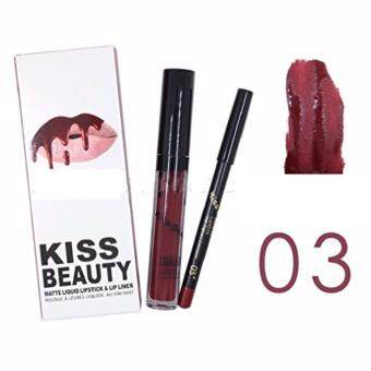 Harga Kiss Beauty Matte liquid lipstick & lipliner No.3 สีแดงเลือดนก