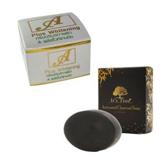Harga A plus cream (1ชิ้น) + It's tree Activated charcoal soap 50 grams (1 ชิ้น) (white)