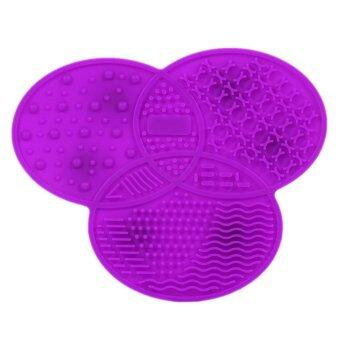 Harga Hot Sale Clover Shaped Silicone Makeup Brushes Cleaning Mat Pad with Skidproof Sucker Purple - intl