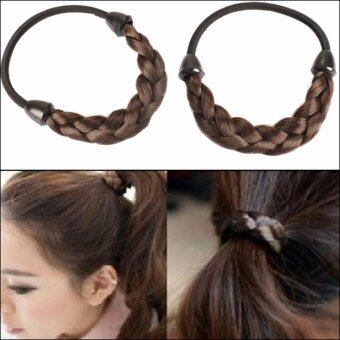 Harga Women Faux Wig Plaits Elastic Braid Rope Ponytail Hair Hairpiece Band - intl