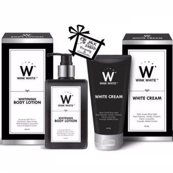 Harga Wink White Whitening Body Lotion SPF PA Plus & 200ml Wink White White Cream 80ml. 1 ชุด (2 แต่ละชุด)