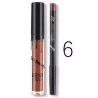 Harga Kiss Beauty Matte liquid lipstick & lipliner No.6 สีน้ำตาลอ่อน