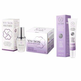 Harga Viv Skin Serum 20ml.+ Viv Skin Mask 30g.+ Viv Sunscreen 15ml. แถม Senka Perfect Whip 120 g. มูลค่า 290 บาท
