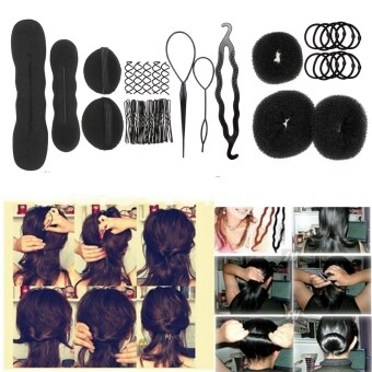 Harga Hair Clips Women Bride Hairdressing French Hair Styling Clip Stick Bun Foam Donut Shape Maker Braid Tool Kits