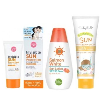 karmart Invisible Sun Protection SPF33 PA+++ 60g ทาหน้า + SalmonWhite Sun Lotion SPF30 PA+++ 150ml ทาผิวกาย +Sun White Serum CreamSPF45 PA+++ 140gทาผิวกาย