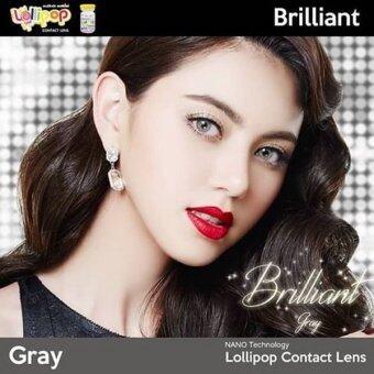 lollipop คอนแทคเลนส์ รุ่น brilliant gray แบบแฟชั่นสายตาปกติพร้อมตลับใส่ (สีเทา) 1 คู่ - 4