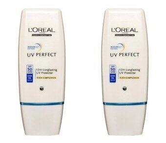 LOREALPARIS UV PERFECT EVEN COMPLEXION SPF 50 PA+++ ลอรีอัล ยูวี เพอร์เฟ็คท์ อีเวน คอมเพล็กชั่น สีเบจ แพ็คคู่