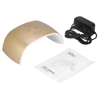 Manicure UV Nail Lamp 18W Led Gel Polish Curing Double Light DryerNailart Machine (US Plug) (Gold) - intl