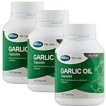 Harga Mega We Care Garlic Oil 100เม็ด(3ขวด)