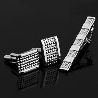 ประกาศขาย Mens Suit Dress Shirt Necktie Tie Bar Clasp Clip Pin Cufflinks Setgift - intl