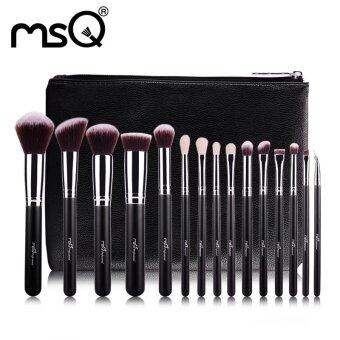 MSQ 15pcs Professional Makeup Brushes Set Make Up Brushes High Quality Synthetic Hair With PU Leather Case For Beauty - intl