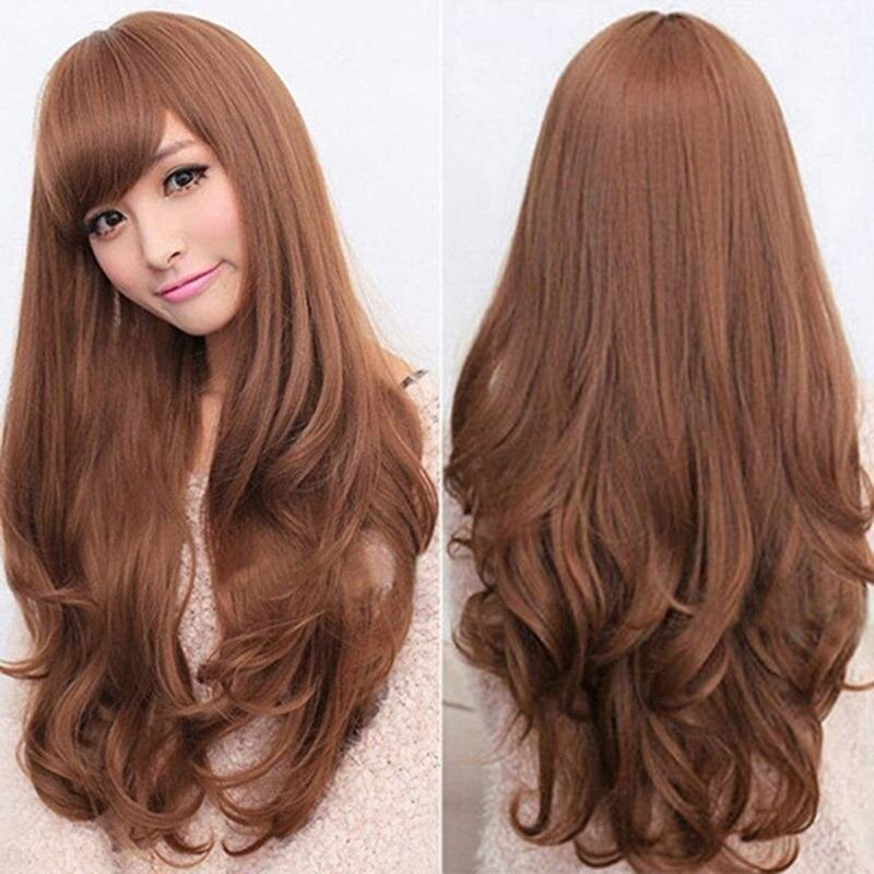 Natural Fashion Fluffy Wavy Wig Long Lace Front Wig Women Hair Heat Resistant - intl