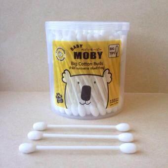 Moby Big Cotton Buds สำลีก้านกระดาษหัวใหญ่110 ก้าน