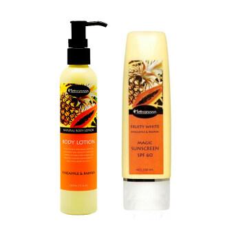 Nongnaka Fruity White Pineapple & Papaya Magic Sunscreen กันแดด น้องนะคะ กลิ่นผลไม้ 100ml ( 1 กล่อง) + Nongnaka Body Lotion Pineapple & Papaya น้องนะคะ โลชั่นสัปปะรดกับมะละกอ 220ml.( 1 กล่อง)