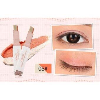 Novo 2Tone eyeshadow โนโว ทูโทนอายแชโดว์ อายแชโดว์แบบแท่ง 2สีในแท่งเดียว#05 สีส้มกับสีมุก